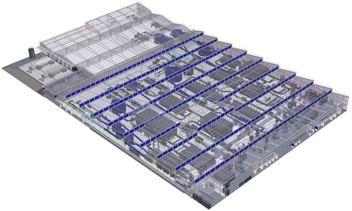Render de instalaciones para platas de alimentos diseñado por grupo CCEIC.